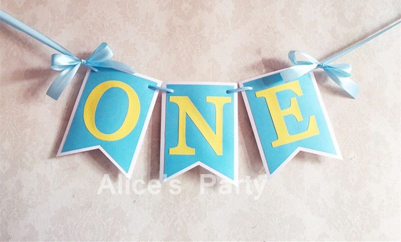 one high chair banner bunting first birthday one flag banner