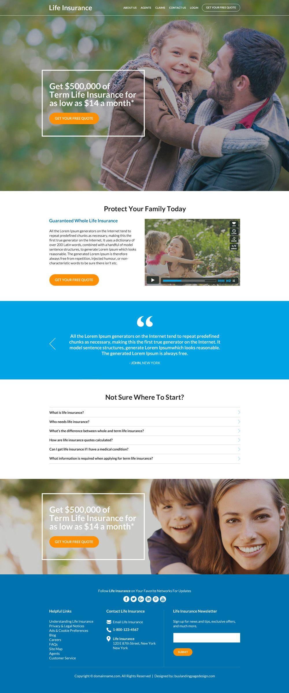 Best Family Life Insurance Coverage Responsive Website Design