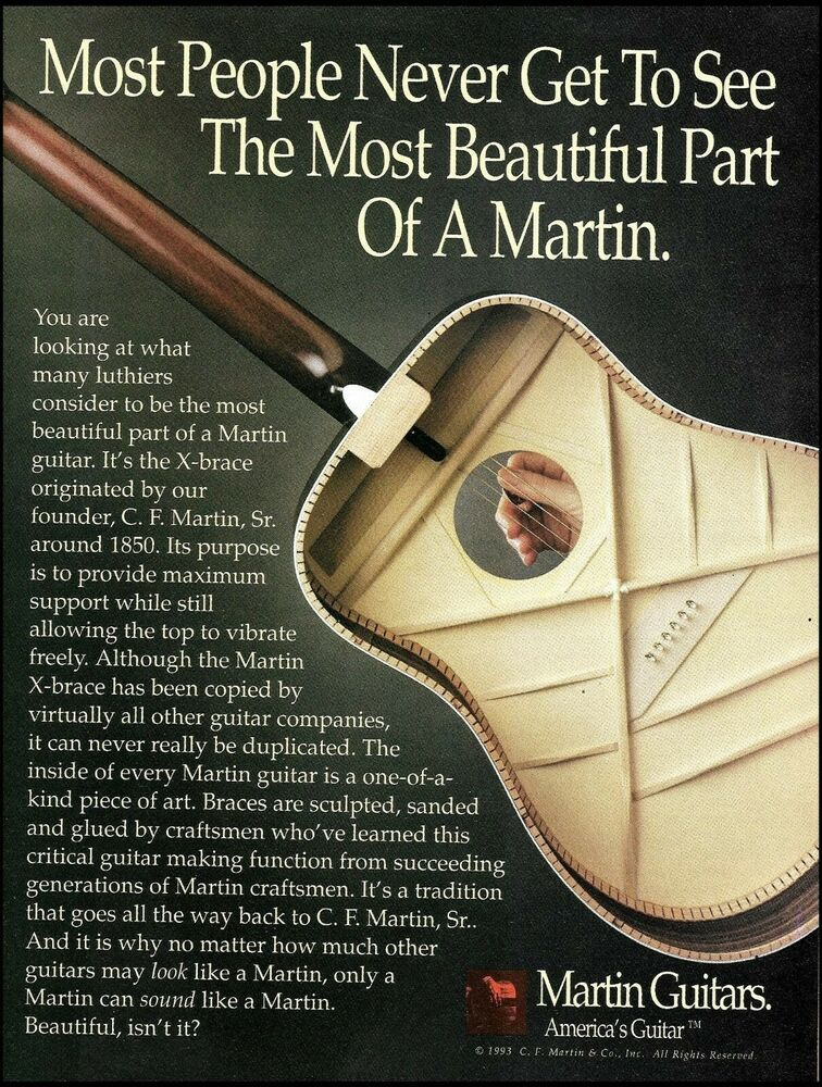 Cf Martin X Brace See Inside Acoustic Guitar 8 X 11 Advertisement 1993 Ad Print Martin Martin Guitar Acoustic Guitar Martin Acoustic Guitar