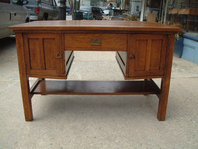 Antique furniture Mission Oak Partners Desk - Antique Furniture Mission Oak Partners Desk Arts & Crafts Period