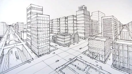 Architecture Drawing How To Draw A City Using Two Point Perspective