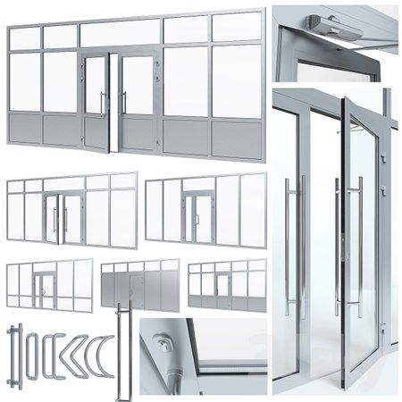 3d Model Aluminium Door With Partitions Free Download