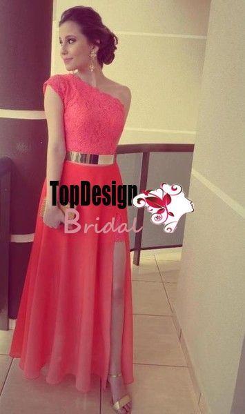 Dresses Coral Color Vestidos Best Seller Lace One Shoulder Side Slit Gold Belt Prom Gowns Formal Evening Dresses 2015