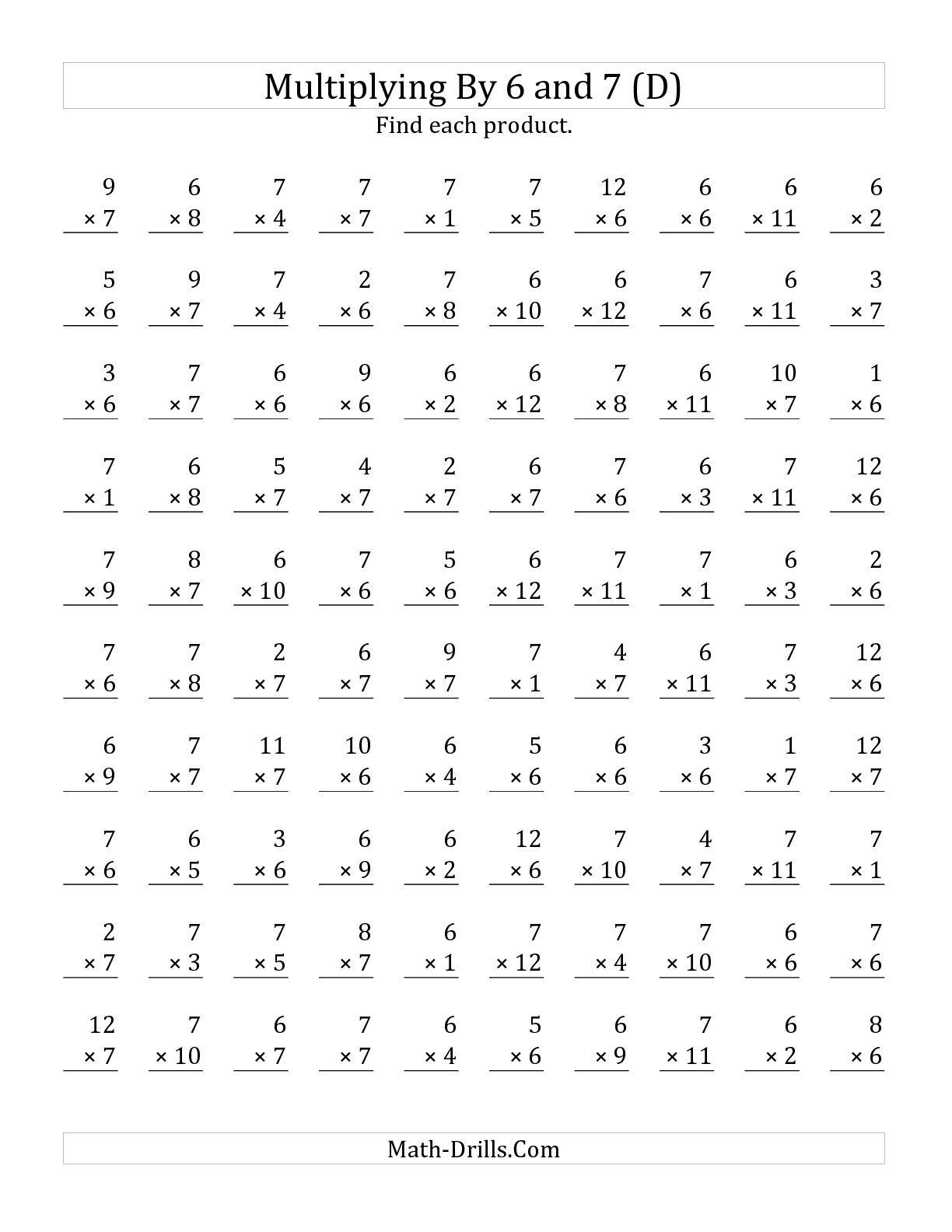 The Multiplying 1 To 12 By 6 And 7 D
