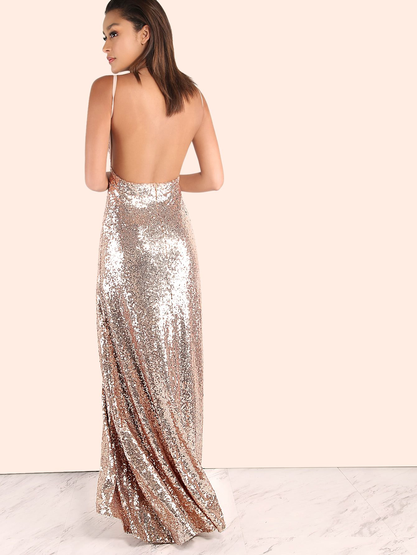 9c3603c1cb Shop Backless Sequin Cami Maxi Dress ROSE GOLD online. SheIn offers Backless  Sequin Cami Maxi Dress ROSE GOLD & more to fit your fashionable needs.