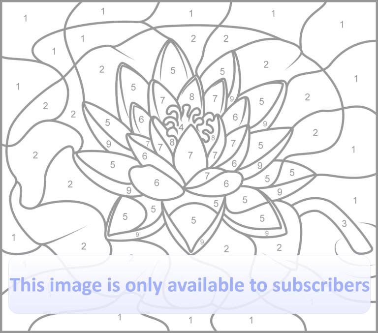 Kleurplaten Waterlelies.Water Lily Printable Color By Number Page Hard Kleuren Op