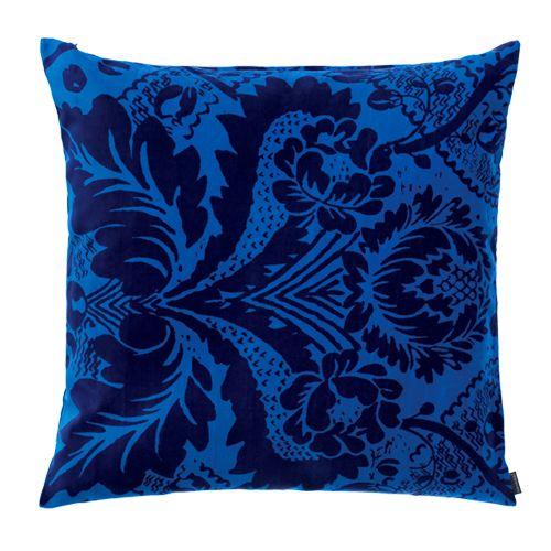 Finnish Design - Marimekko Blue Fandango Velvet Throw Pillow . Modern color scheme on a traditional design, from Finland