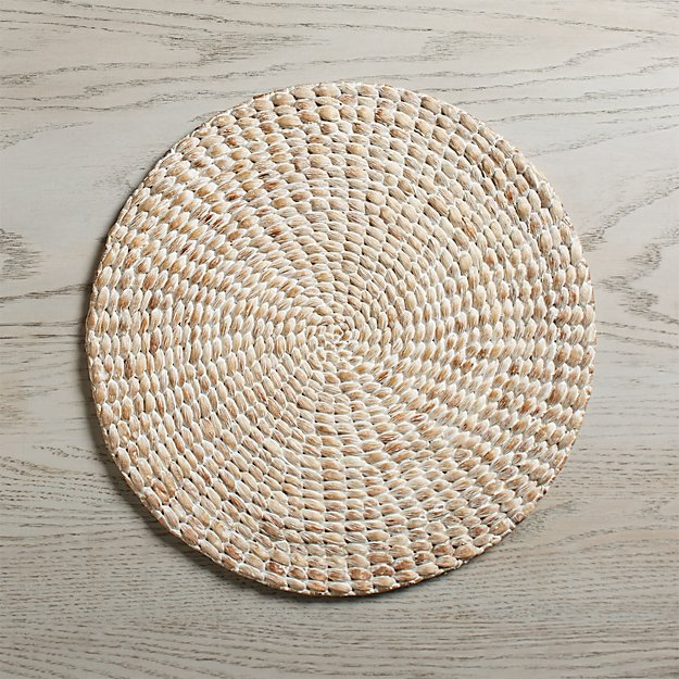 Whitewash Water Hyacinth Round Placemat Reviews Crate And