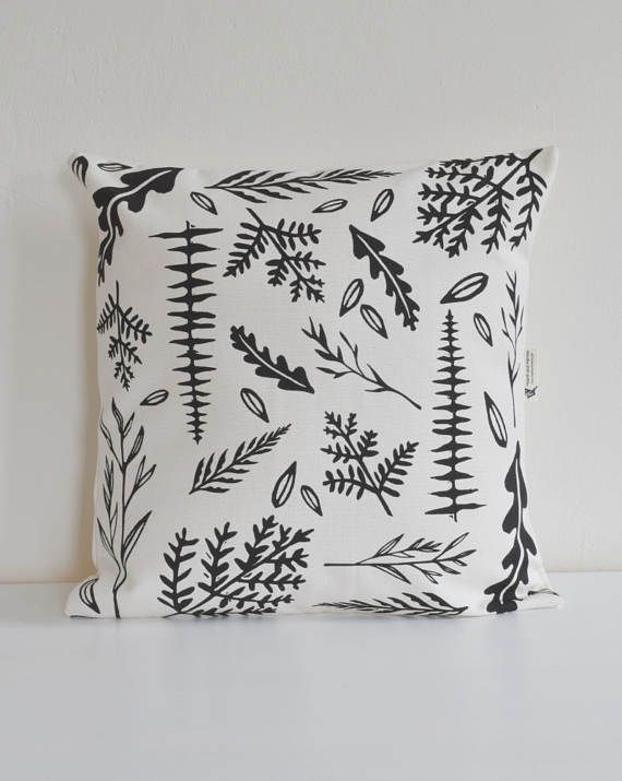 Woodland Ferns Throw Pillow Organic Cotton Decorative