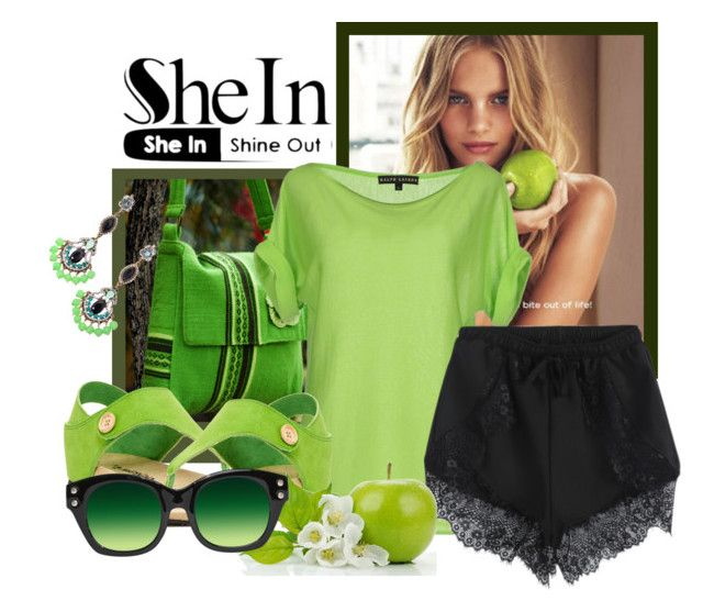"""""""SheIn-Lace Shorts"""" by samketina ❤ liked on Polyvore featuring NOVICA, DKNY, Ralph Lauren Black Label and Bearpaw"""