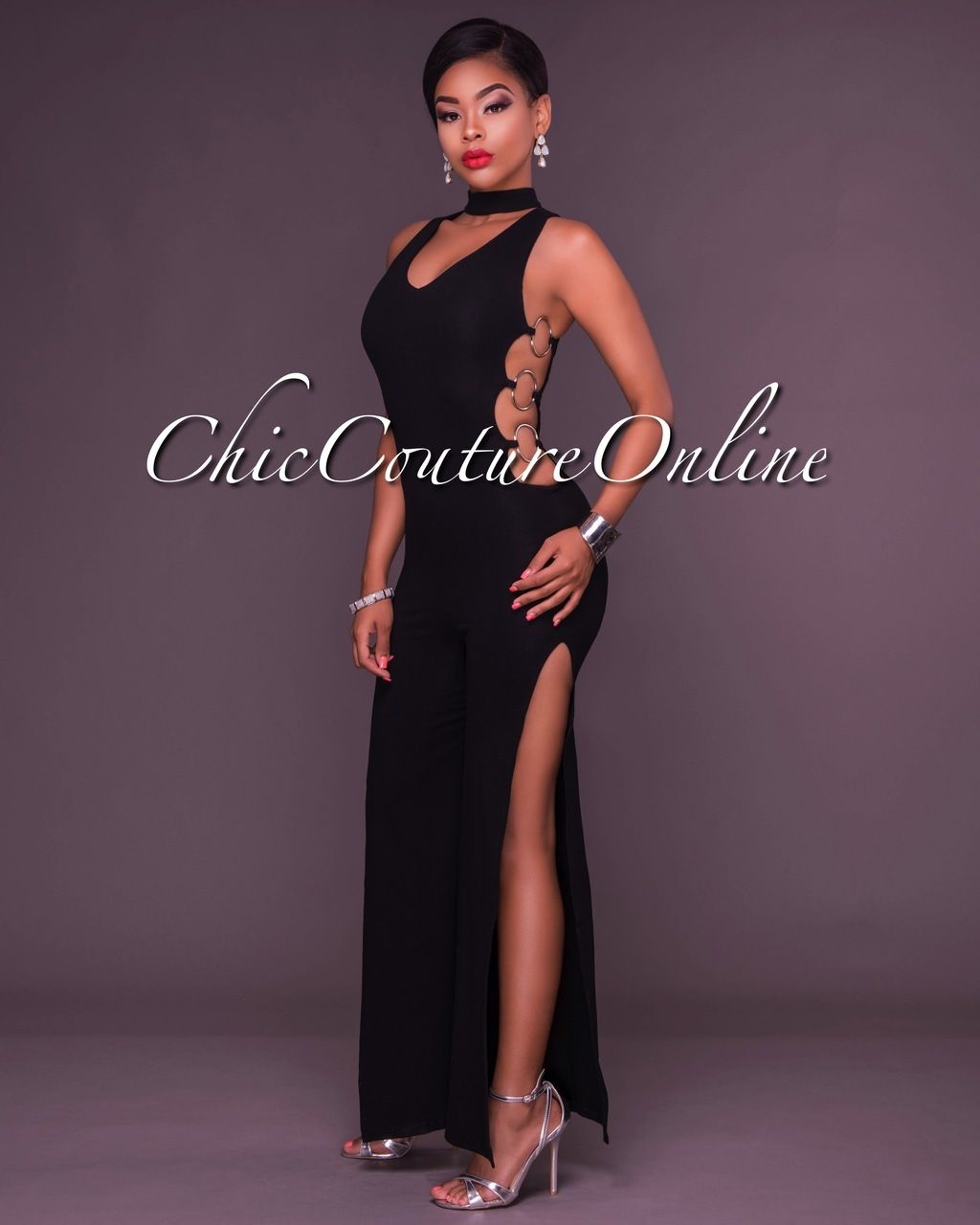 Chic Couture Online - Dionne Black Choker Silver Rings Jumpsuit ...