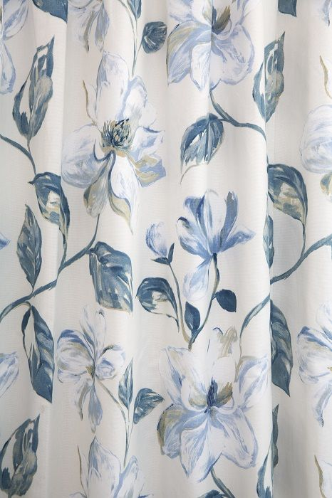 Gorgeous Blue And White Floral Curtains In Siracusa Indigo By