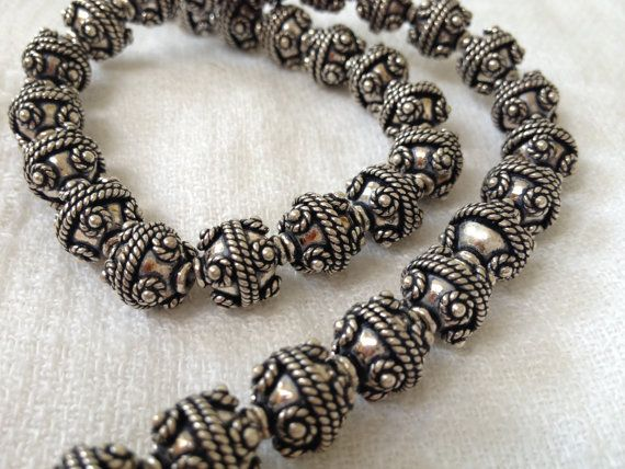Full Strand 37 pieces 11 mm Round Bali Silver by fortheloveofjudy