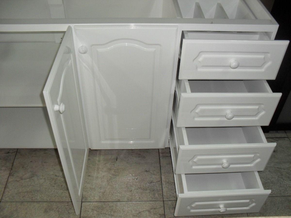 cajonera y mueble de cocina de color blanco laqueado es