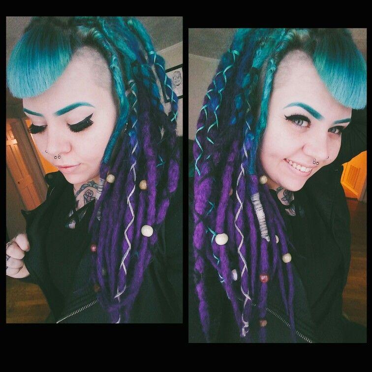 My blue and purple dreadlocks. Blue eyebrows also rock! (: