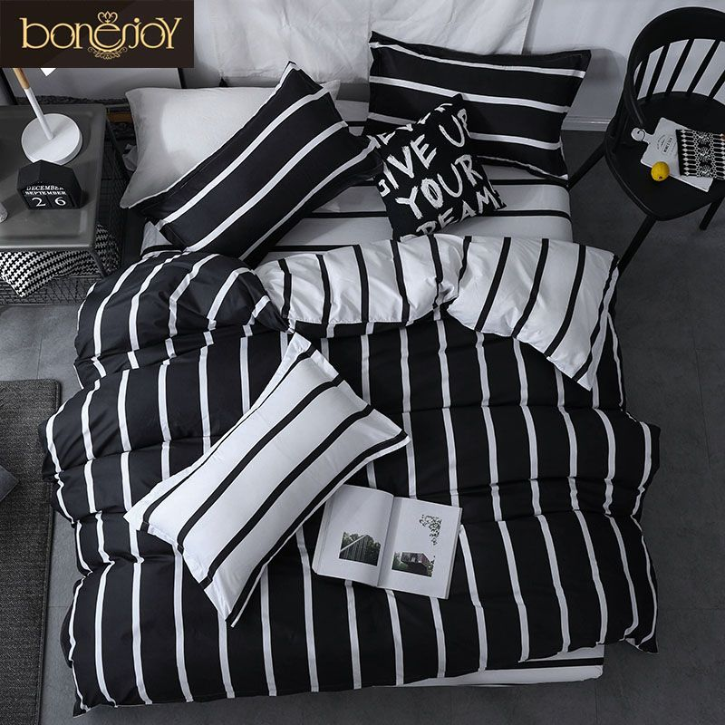 Bonenjoy Black And White Colo Striped Bed Cover Sets Single Twin Double Queen King Quilt Cover Bed Sheet Pillowcase Bedding Kit Wallcorners Decor Your Home Bed Cover Sets Full Bedding Sets Bedding