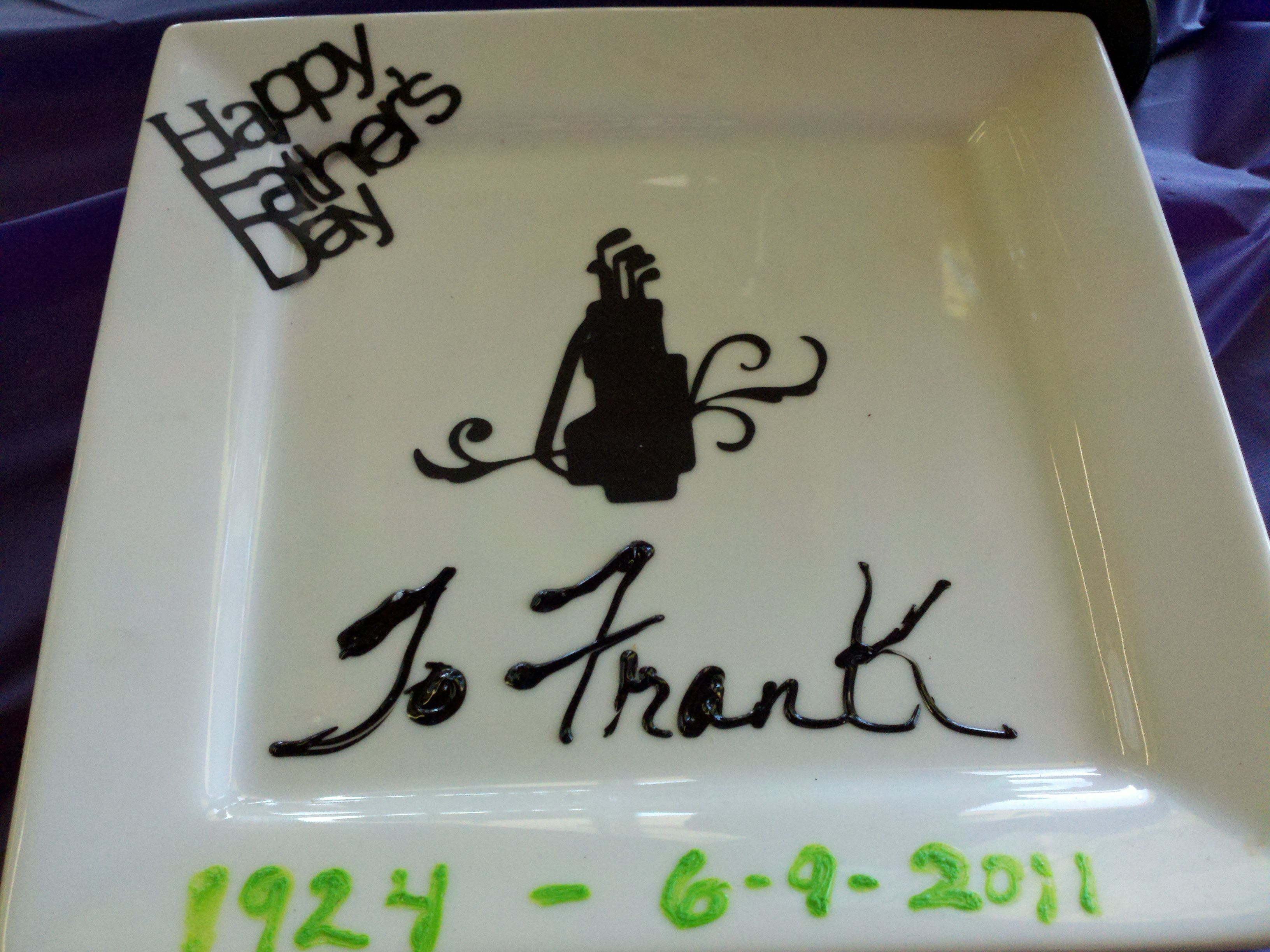 Memory Plate to my Father, created at SHELIA K Paint Your Own Pottery Studio