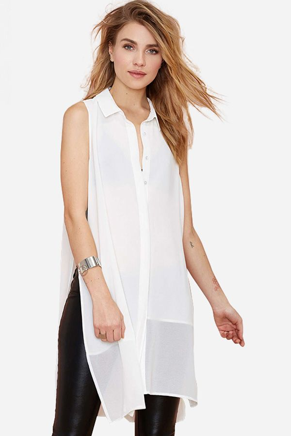 df4e7bec6f0de White Button Up Side Slit Sleeveless Chiffon Shirt  White  Shirt  maykool