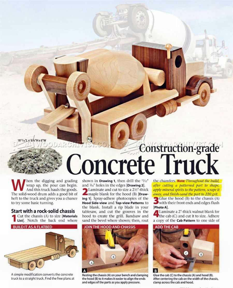 517 wooden concrete truck plans - wooden toy plans | wooden