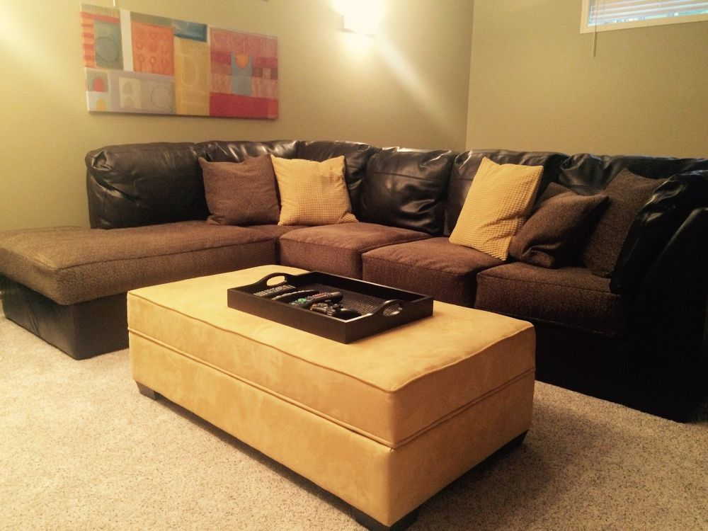 From Throwaway Couch To Comfy New One Faux Leather Couch Couch Couch And Chair Set