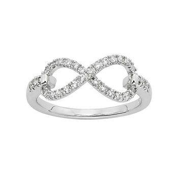 Diamond Essence Cubic Zirconia & Diamond Accent Sterling Silver Infinity Ring - Made with Swarovski Zirconia