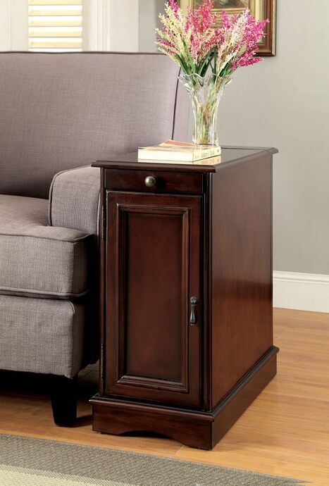 Cm Ac171ch Lilith I Chery Finish Wood Chair Side Cabinet Accent Table With Usb Plugs Furniture End Tables With Storage End Tables