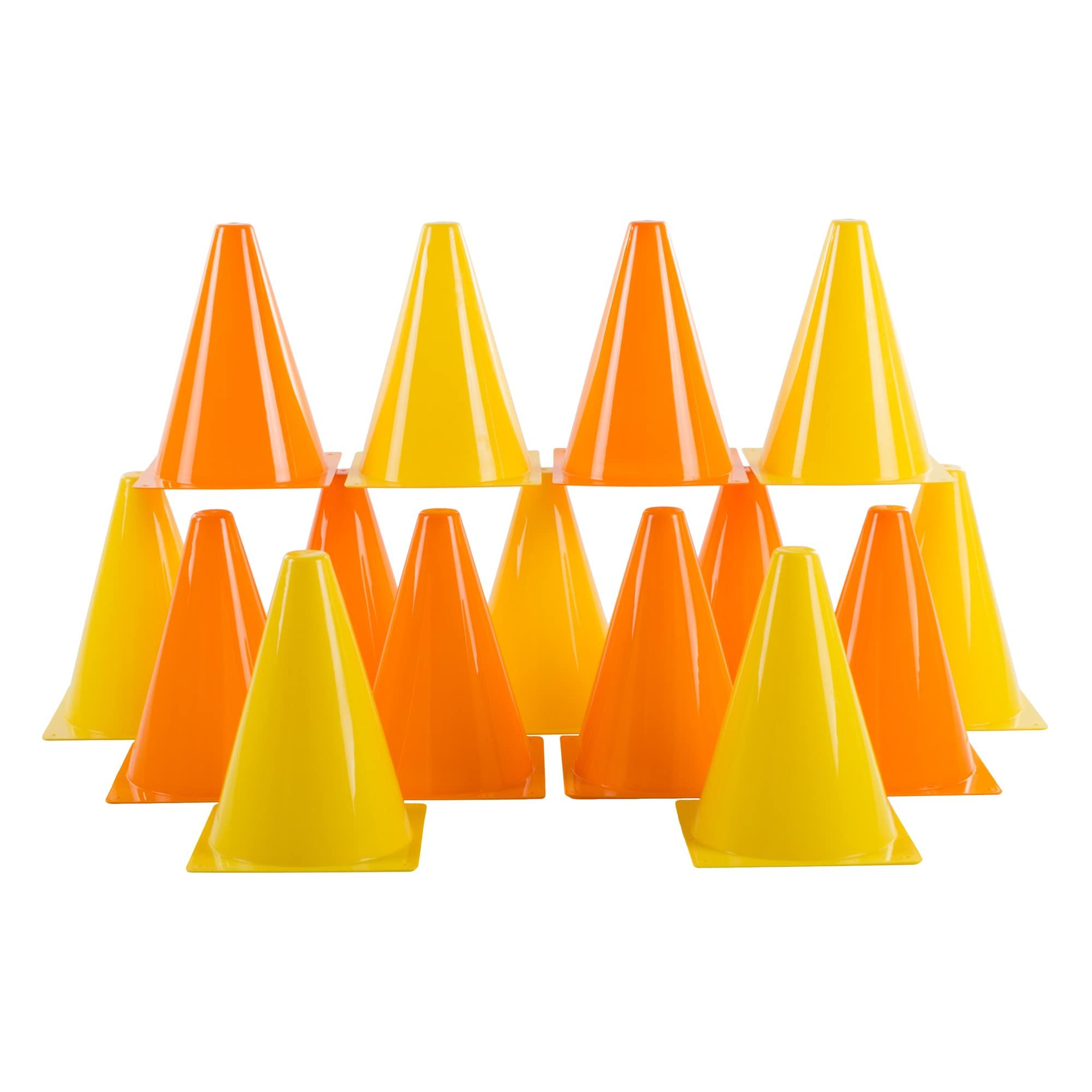 Traffic Safety Cones, Set of 15 Plastic, Colorful by Hey
