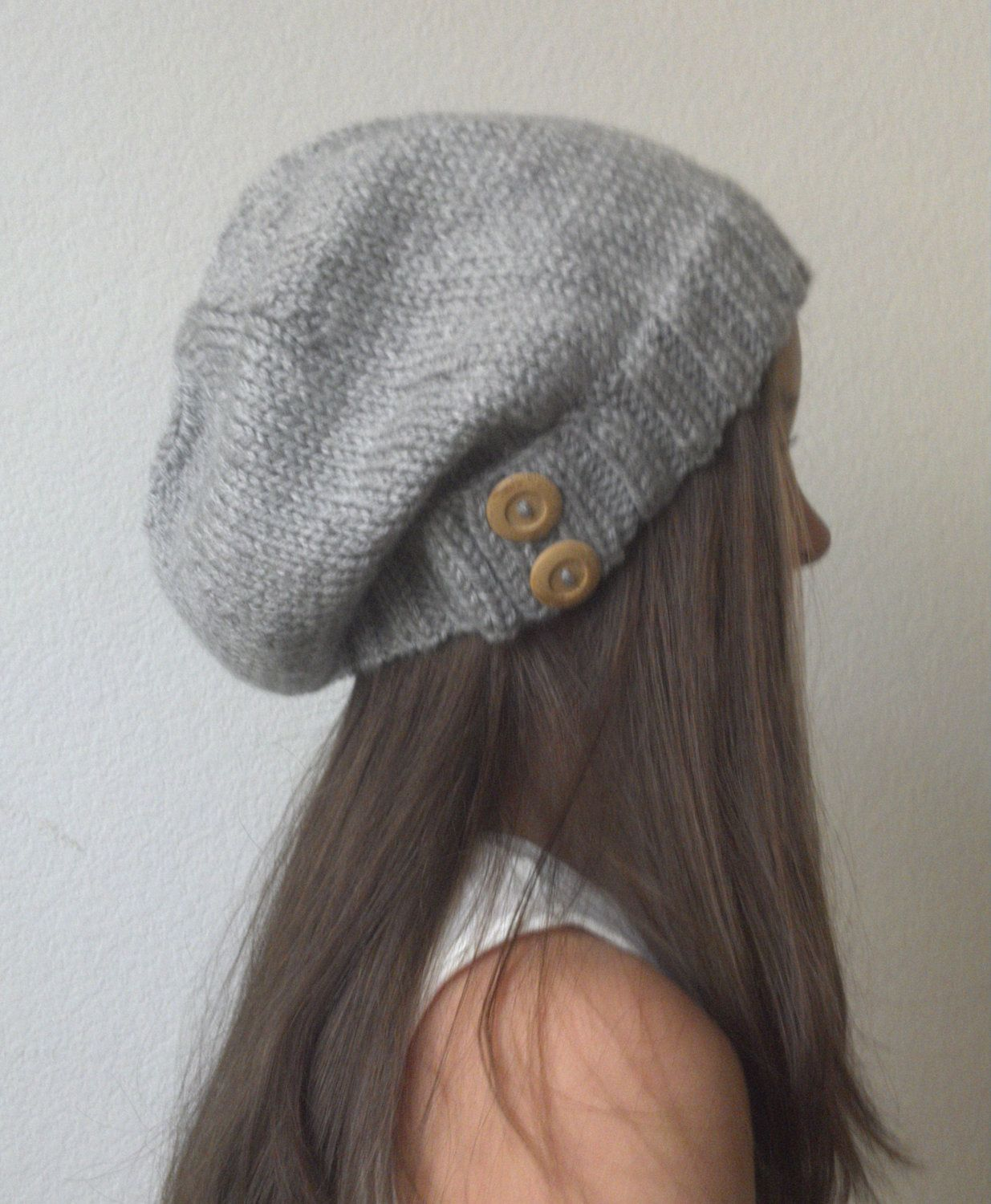 bc3be09e6fe Knit slouchy hat - HEATHER GRAY ready to ship - (more colors available -  made