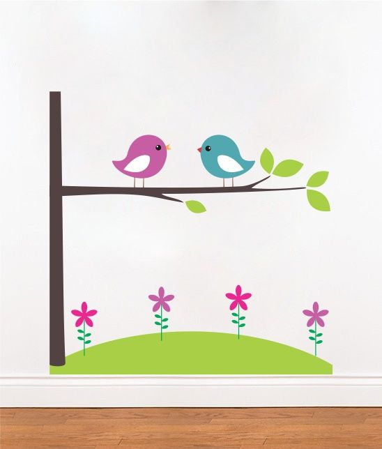 Vinilo decorativo dormitorio nenas p jaros jard n flores for Vinilos para nenas