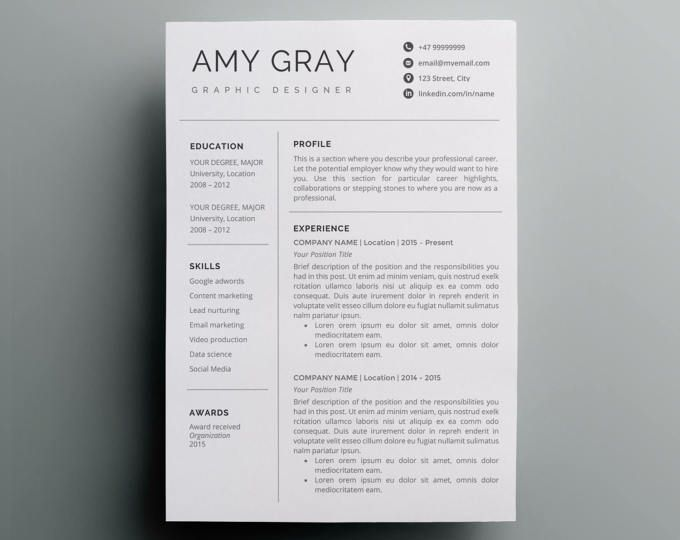 Resume Template Instant Download  Cv Template  Cover Letter