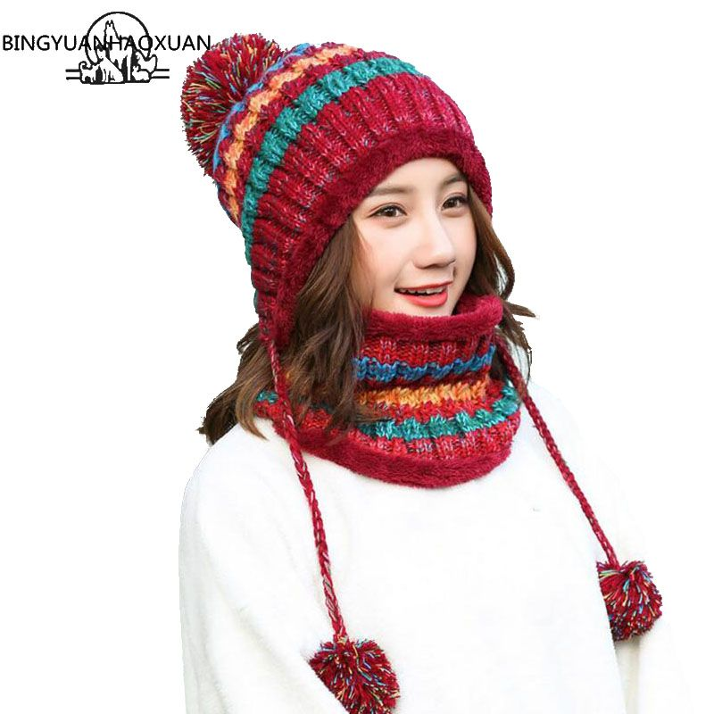Cheap Skullies   Beanies  BINGYUANHAOXUAN Winter Knitted Hat Women Scarf  Caps Mask Gorras Bonnet Warm Baggy Winter Hats For Girls Skullies Beanies efabb52f01b