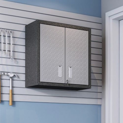 Manhattan Comfort Fortress Floating Textured Metal Garage Cabinet, Grey is part of Metal cabinet Texture - Store all your workshop essentials in the Manhattan Comfort Fortress Floating Textured Metal Garage Cabinet without taking up valuable floor space  This wall mounted garage cabinet boasts an adjustable shelf behind its locking double doors  It's built of textured steel and includes brackets for easy wall mounting  Manhattan Comfort, a developing furniture company based in New York City, began in 2008 with the goal of bringing modern and stylish furniture to living rooms nationwide  Gradually becoming a household name, they create quality furniture through a production process that ensures each piece created is flawless  They are committed to continually offering contemporary highquality furniture at affordable prices  (MANH3951) Color Grey
