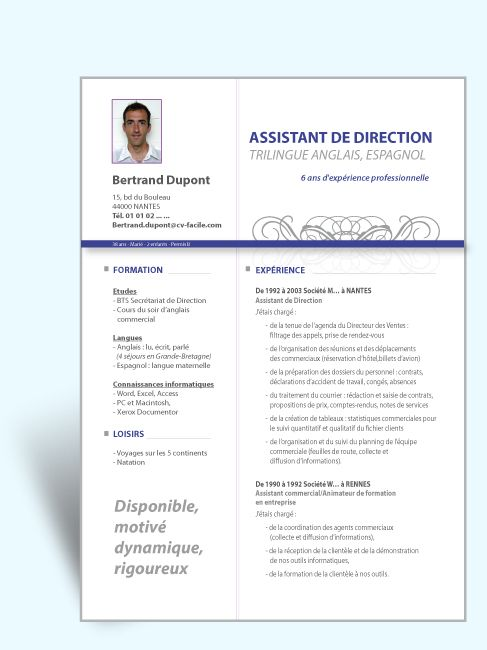 modele cv assistante de direction pole emploi