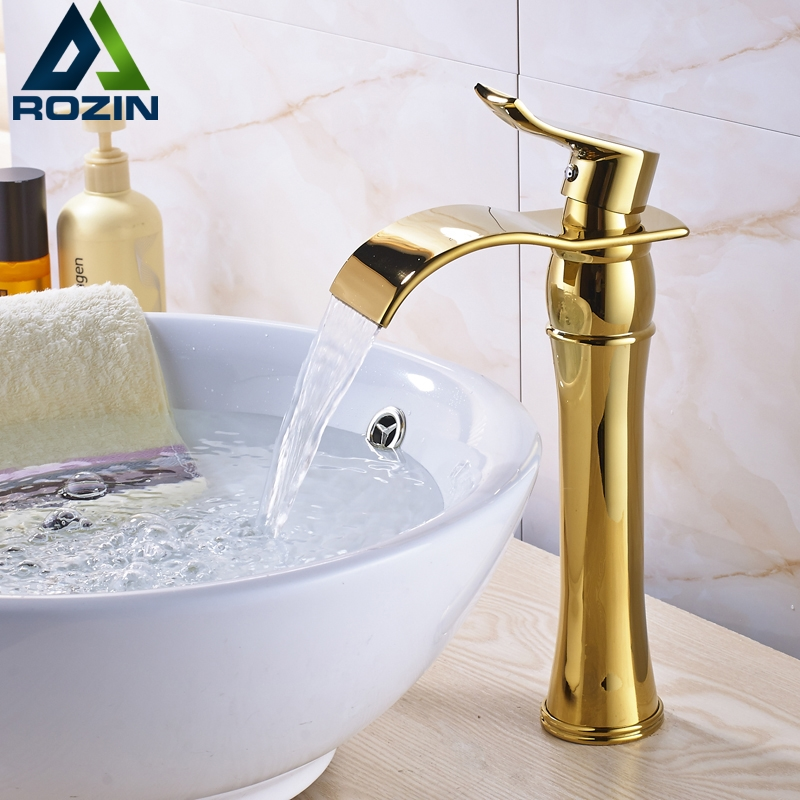 Rozin Vanity Sink Tap Deck Mounted Antique Brass Double Hot and Cold Water Single Spout Faucet