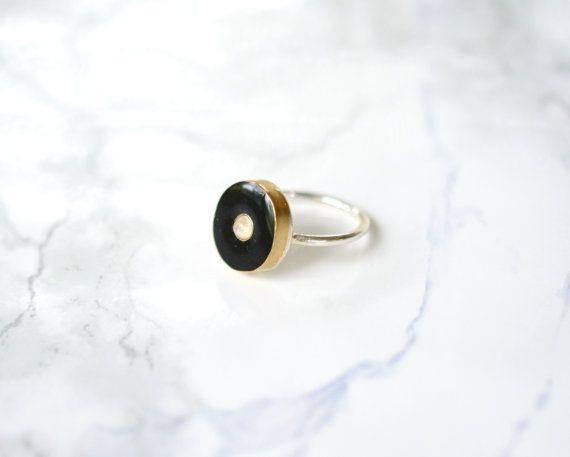 Moonstone ring resin jet black round sterling silver by Blydesign