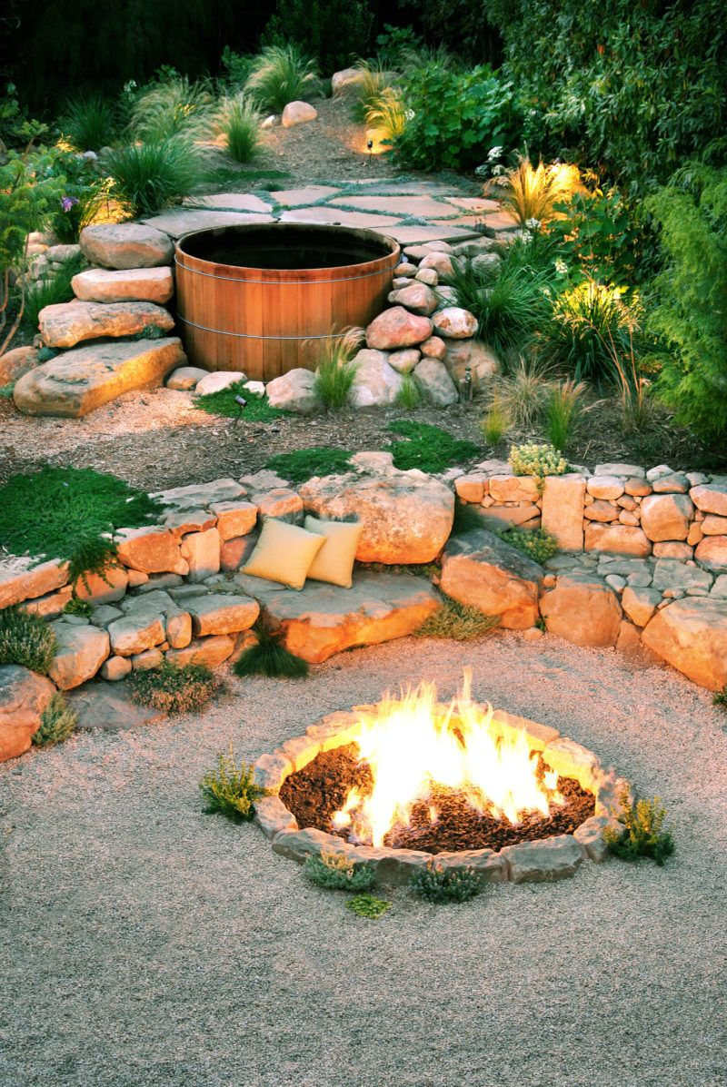 Ideas For Fire Pits For Year Round Coziness In Your Yard Sloped Backyard Backyard Backyard Landscaping