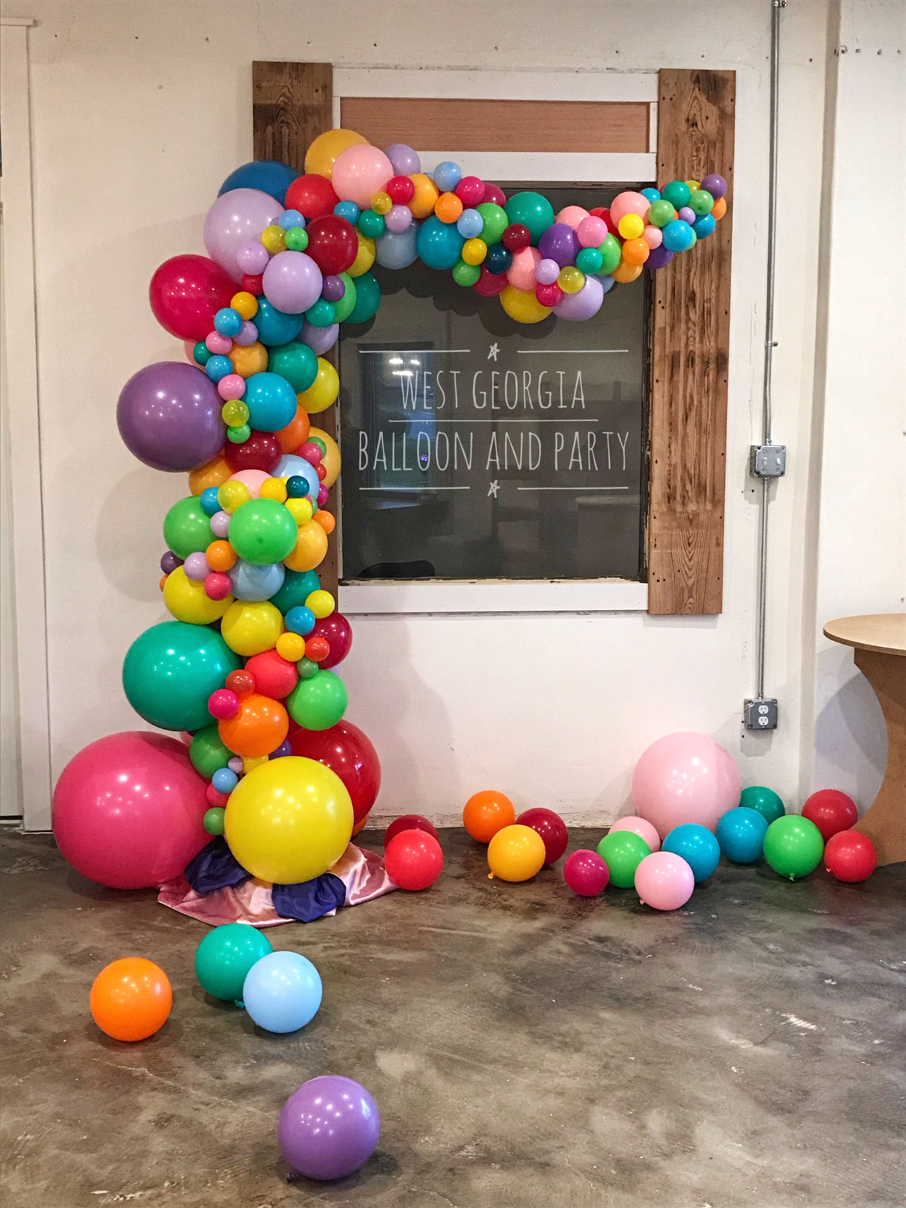 Candy Land Balloon Garland! We think it looks like bubble