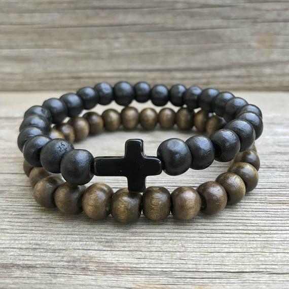 Men Cross Bracelet Black Wood