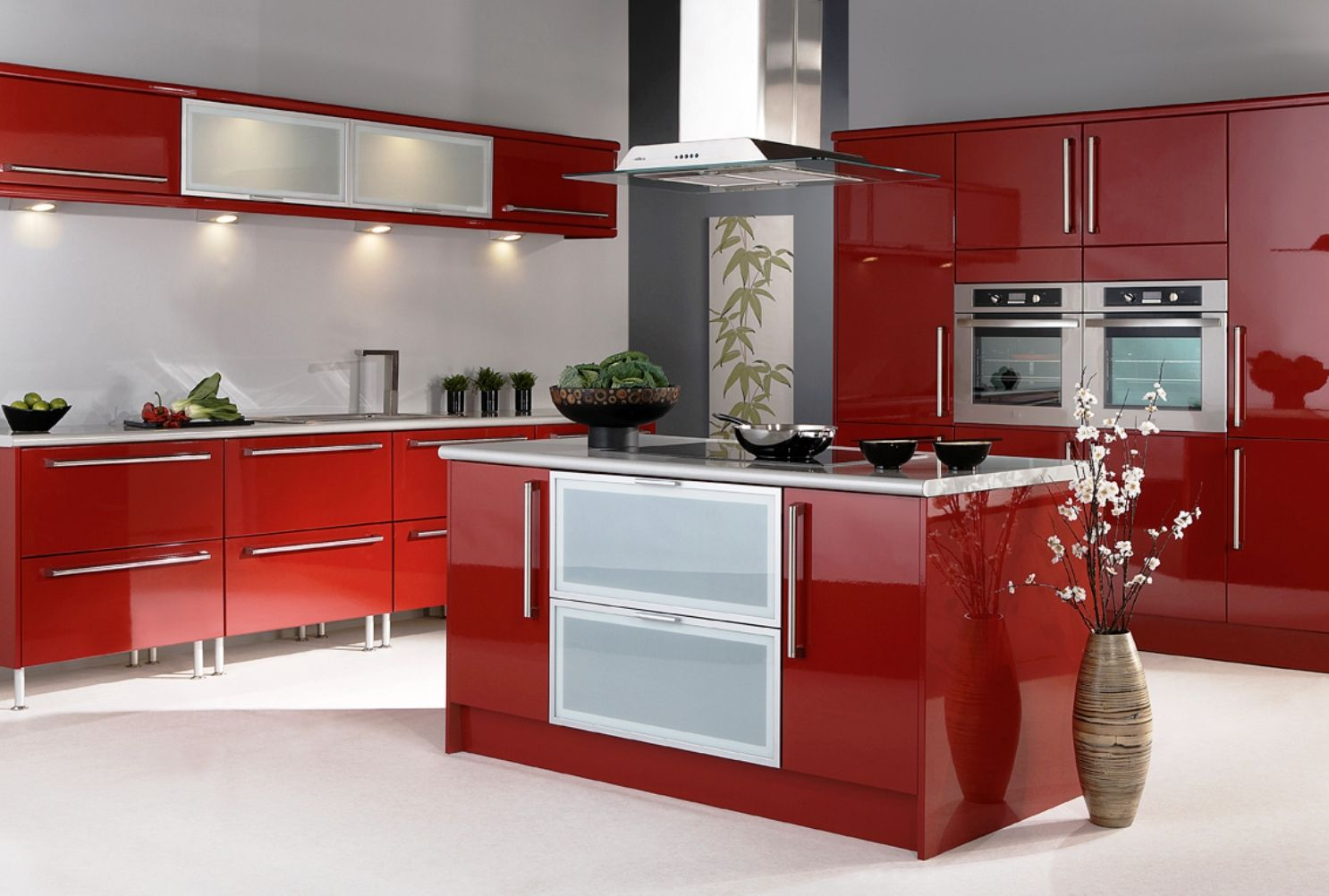 Endearing High End Red Kitchen Cabinet Design Featuring Electric