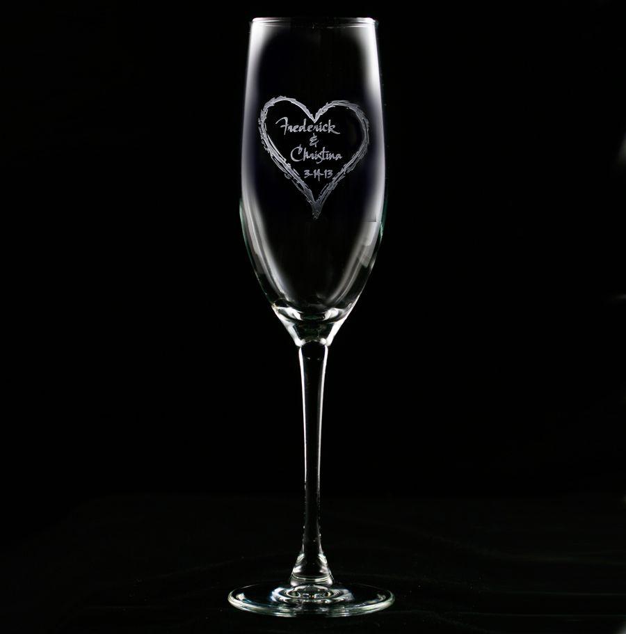 Engraved Wedding Heart Champagne Flute Engraved Wedding