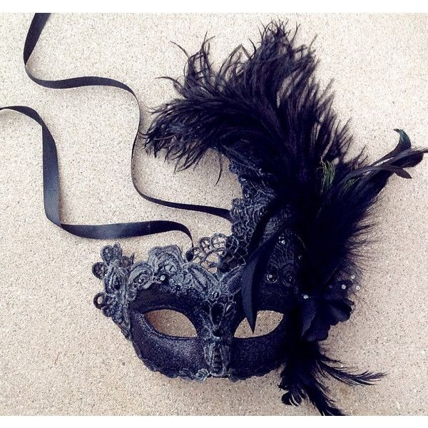 Halloween Masquerade Mask Black Red Lace Feather Encrusted Venetian... ($27) ❤ liked on Polyvore featuring costumes, lace costume, red halloween costumes, red costumes, black costume and masquerade costumes