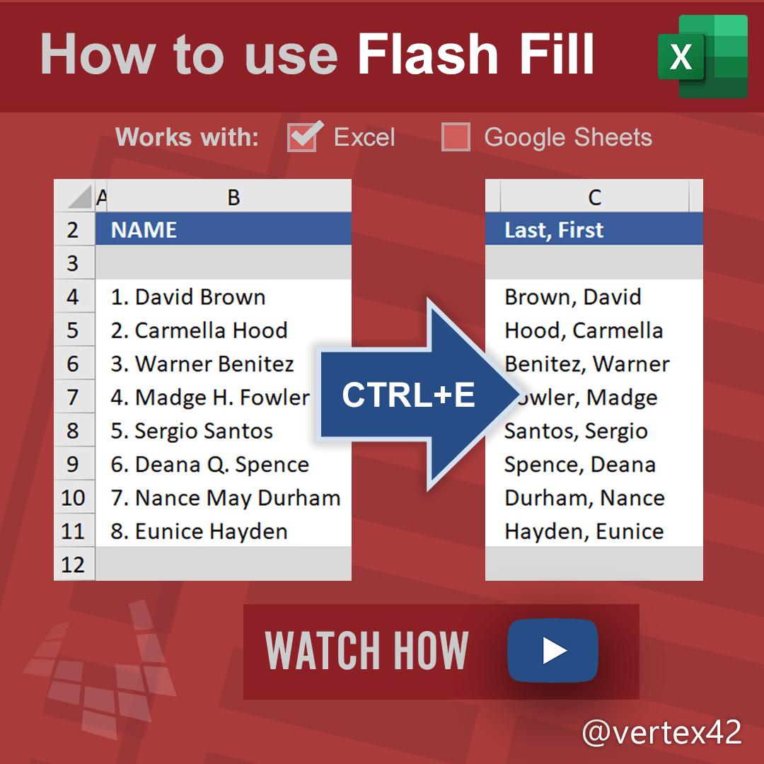 Learn how to use Flash Fill in Excel to quickly and easily