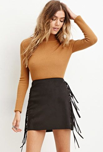 c05c6593a Faux Suede Fringe Mini Skirt | Forever 21 - 2000180511 | Must Haves ...