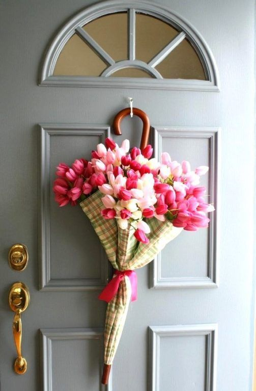 Spring decorating idea for the front door use an umbrella fill it with tulips follow oflifeandlisa also delightful decoration ideas to welcome rains home rh pinterest