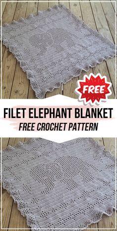 crochet Filet Elephant Blanket free pattern