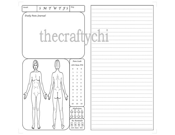Female Pain Journal for TN, Traveler's Notebook, Midori
