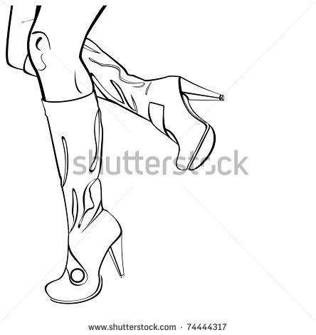 Leg High Heels Drawing Sketch Coloring Page Sketches