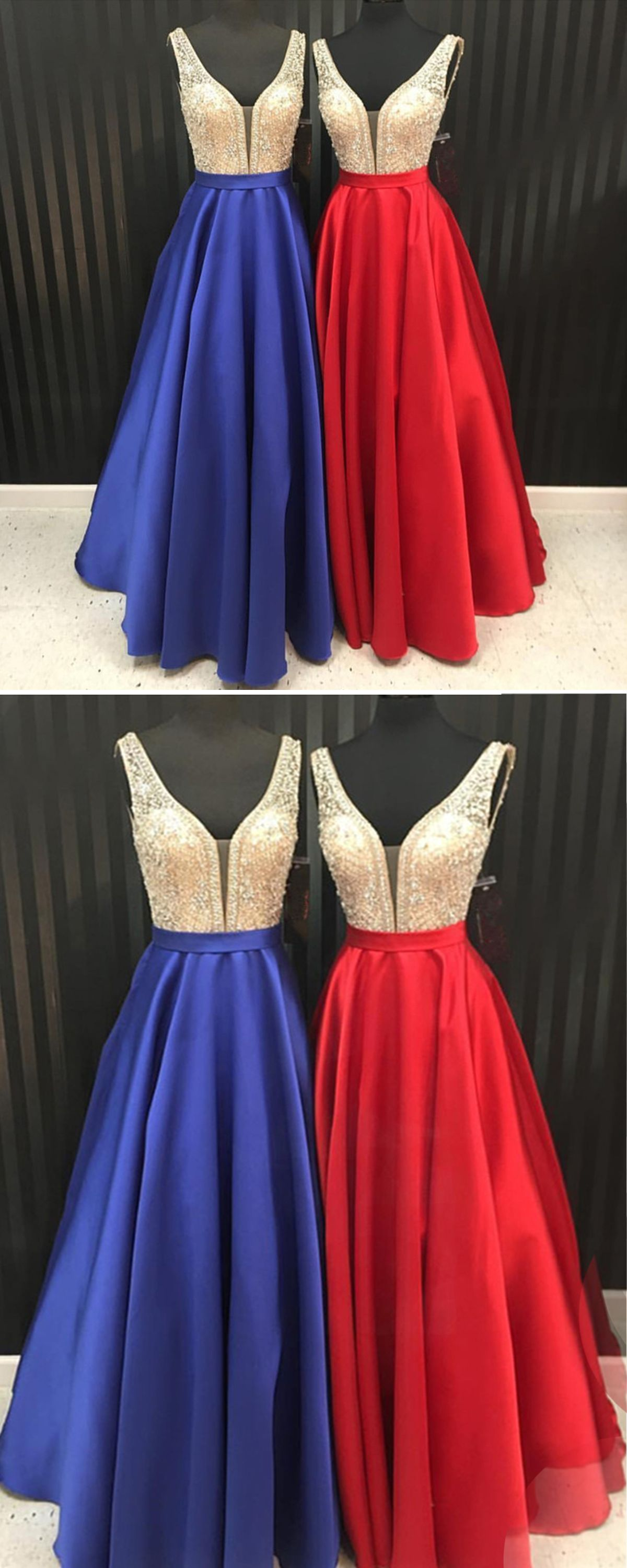 Unique royal blue red satin long silver sequins v neck halter prom