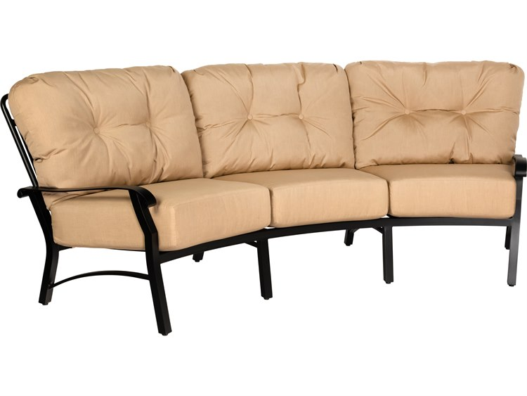 Woodard Cortland Cushion Aluminum Crescent Curved Sofa ... on Living Accents Cortland Patio Set id=66281