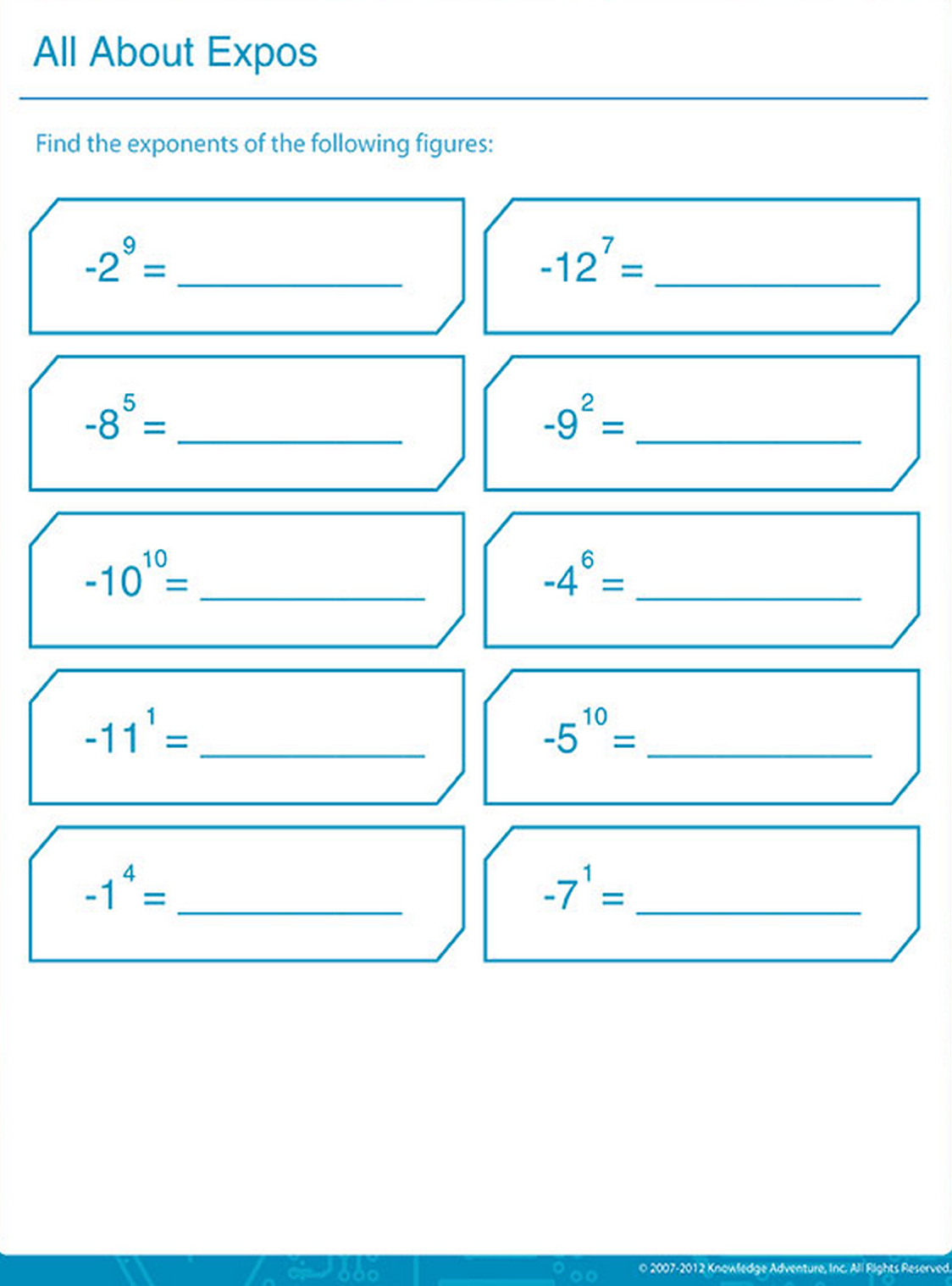 Exponent Is A Repeated Multiplication Find The Exponents For The Following Figures Worksheets For Kids Worksheets Free Kids Math Worksheets